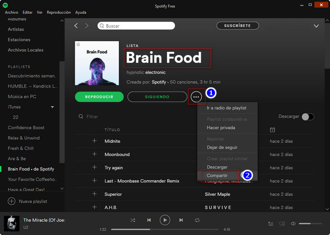 Button to share Spotify Playlist