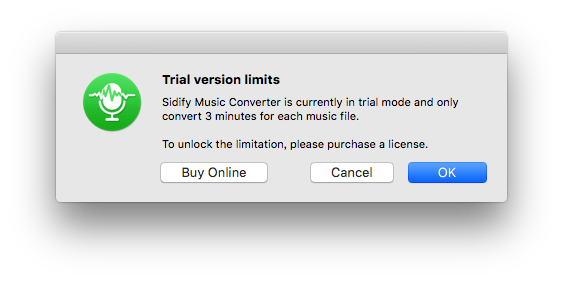 Trial limits of Sidify Music Converter